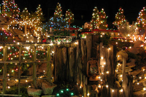 Click to see more photos of Dan's railroad decorated for Christmas in 2007
