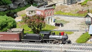 A freight pulls into Cranberry - 2016 Summer GCGRS Garden Railway Tour